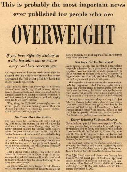 Charles Antell, Incorporated's Fastabs tablets – This is probably the most important news ever published for people who are Overweight (1953)
