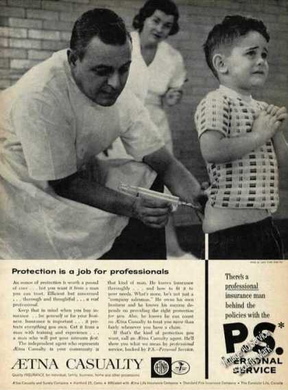 Aetna Casualty Small Boy Getting Vaccinated (1961)
