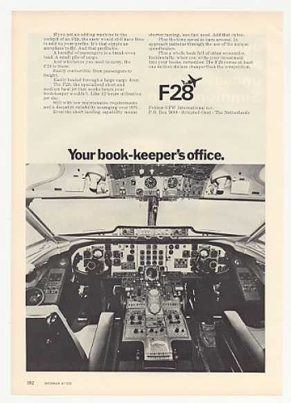 Fokker VFW F28 Jet Aircraft Cockpit Photo (1972)