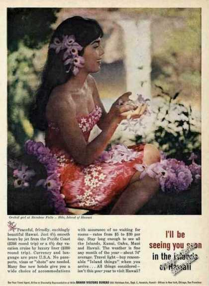 Orchid Girl at Rainbow Falls Hilo Hi Colorful (1961)