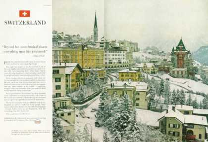 Esso Ad St Moritz Snow Ski Capital Switzerland (1959)