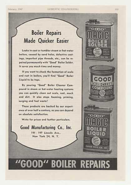 Good Manufacturing Boiler Repair Products Trade (1947)