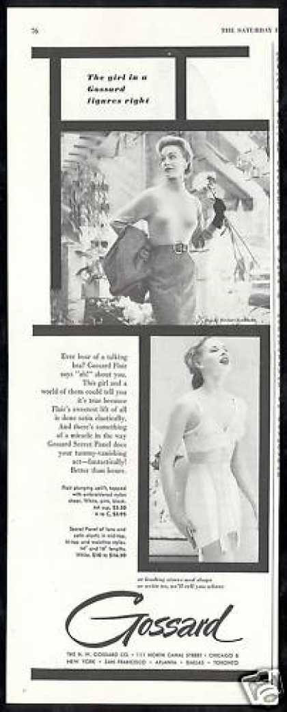 Gossard Bra Girdle Photo Girl Figures Right (1953)