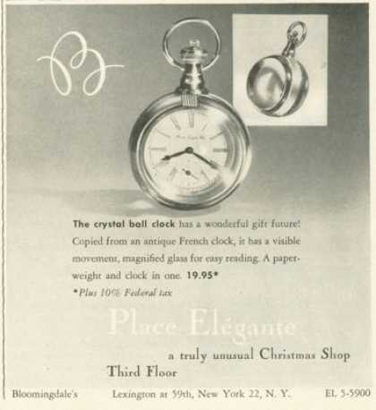 Place Elegante Crystal Ball Clock Photo (1959)