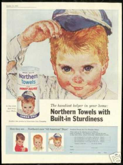 Cute Redhead Boy Art Northern Towels (1961)
