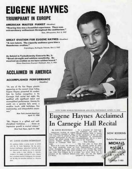 Eugene Haynes Photo Pianist Booking (1959)