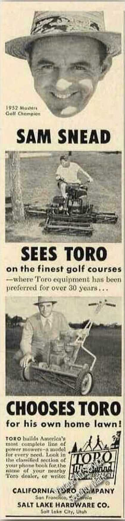 Sam Snead (1952 Masters) Photo Toro (1953)