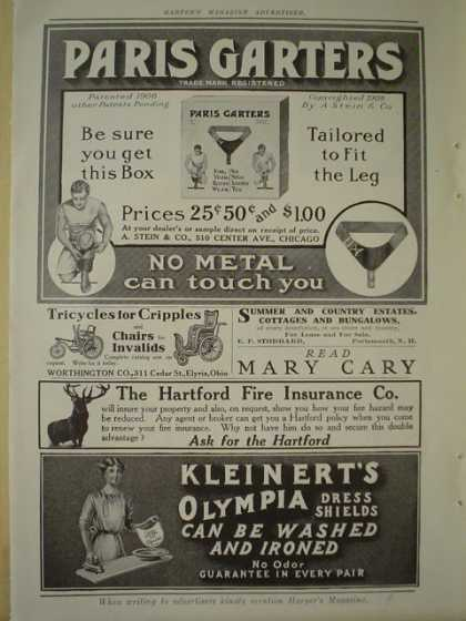 A Stein and Co Paris Garters AND Worthington Co Tricycles for cripples AND Kleinerts Dress shields AND NJ Zinc Co (1910)