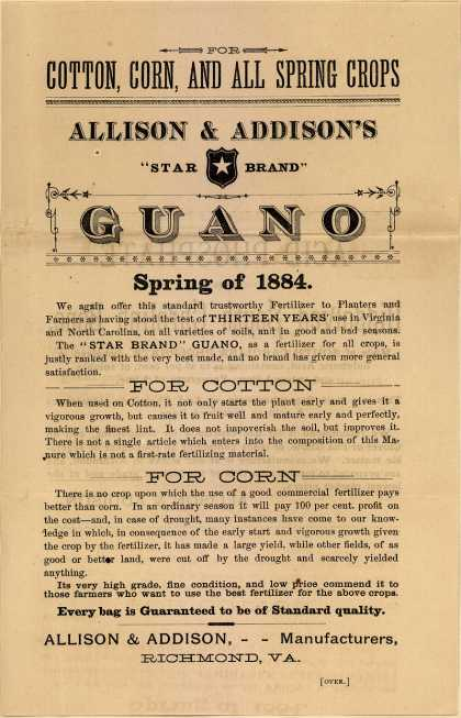 Allison & Addison Manufacturer's Guano – Allison & Addison Star Brand Guano (1884)