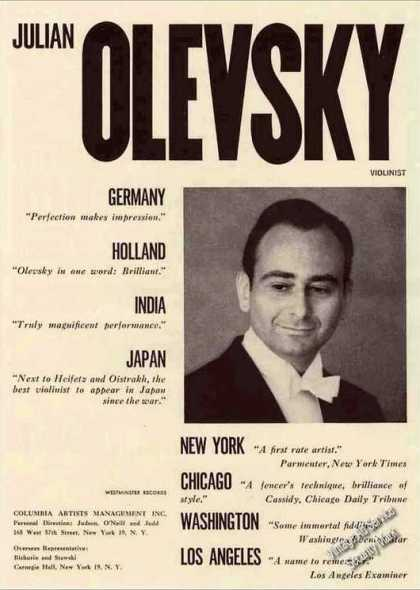 Julian Olevsky Photo Violinist Trade (1962)