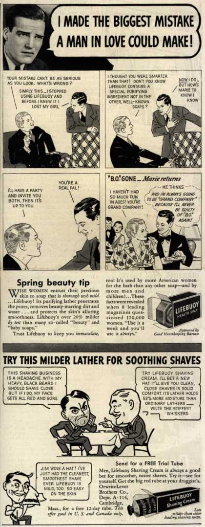 Lever Brothers Company's Lifebuoy Health Soap and Shaving Cream – I Made The Biggest Mistake A Man In Love Could Make (1937)