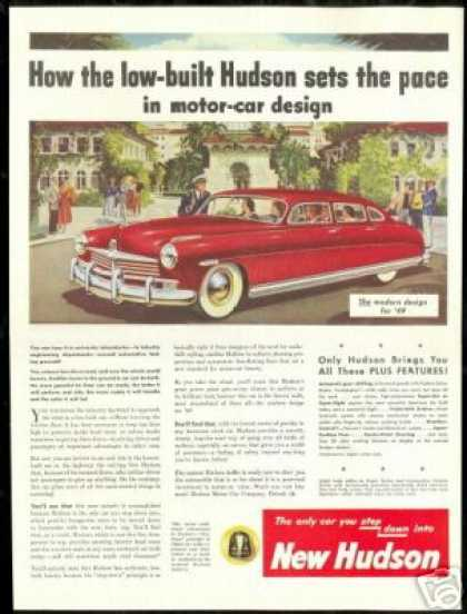 Big Red Low Built Hudson Vintage Print Car (1949)