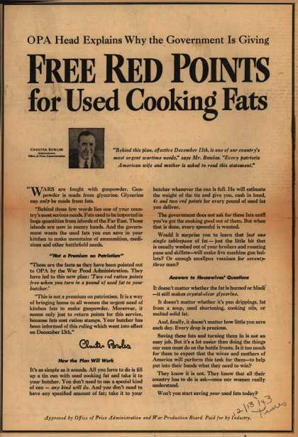 Office of Price Administration and War Production Board's Cooking Fats – OPA Head Explains Why the Government is Giving Free Red Points for Used Cooking Fats (1943)