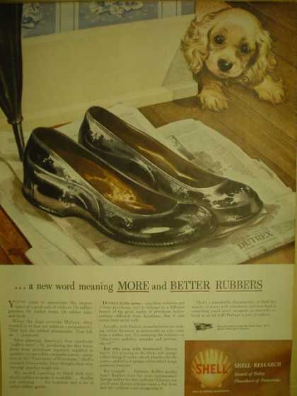 Shell Research More and better rubbers. Puppy theme (1944)