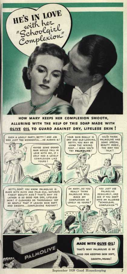 "Palmolive Company's Palmolive Soap – He's In Love with her ""Schoolgirl Complexion"" (1939)"