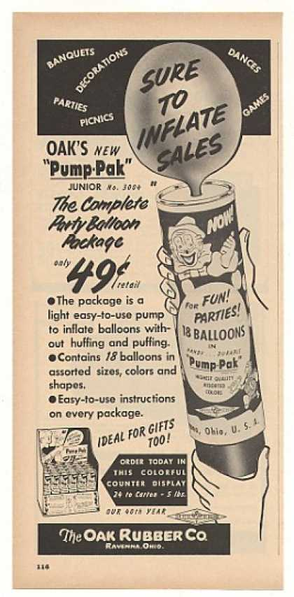 Oak Rubber Ravenna OH Pump-Pak Balloon Trade (1956)