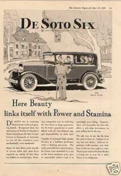 Desoto Six Sedan Coche Car Ad 2 Page (1929)