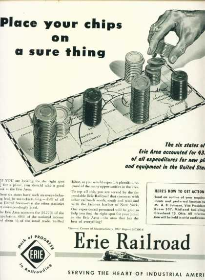 Erie Railroad Ad Chips On Sure Thing (1947)