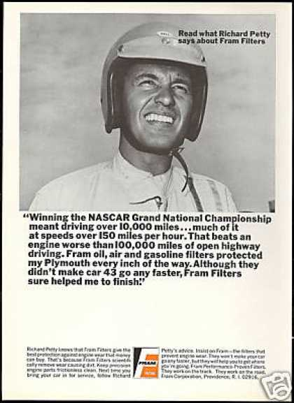 Richard Petty Photo NASCAR Fram Filters Vintage (1968)