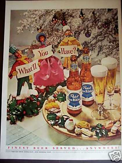 Pabst Blue Ribbon Beer Pbr Christmas Holiday (1951)