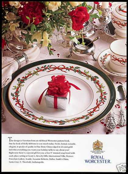 Royal Worcester Holly Ribbons China Photo (1991)