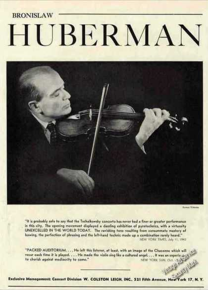 Bronislaw Huberman Photo Violin Nice Booking (1944)