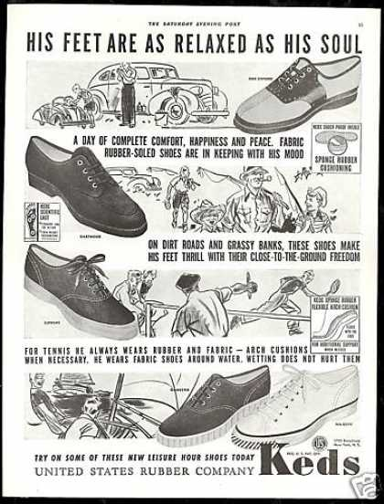 U.S Rubber Co Keds Shoes Sneakers Vintage (1939)
