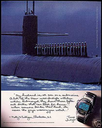 Timex Indiglo Watch US Navy Submarine Sailors (1995)