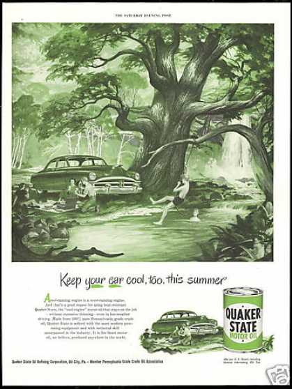 Summer Picnic Lake Swing Quaker State Oil (1950)