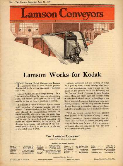 Kodak's Lamson Conveyors – Lamson Works for Kodak (1920)