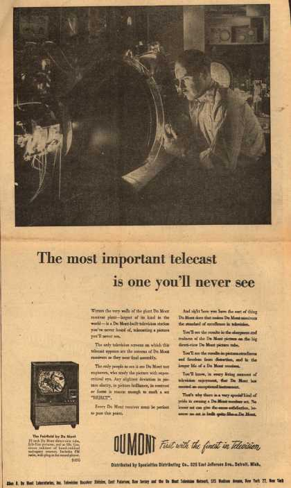 Allen B. DuMont Laboratorie's Television – The most important telecast is one you'll never see (1950)