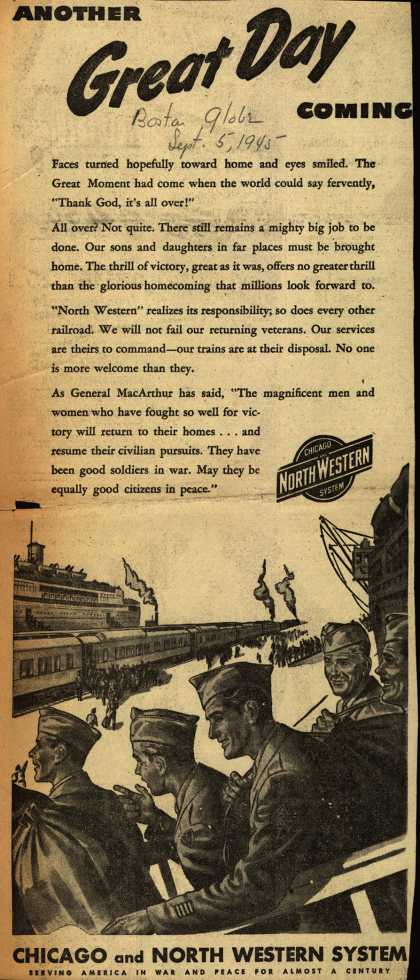 Chicago and North Western System's Service – Another GREAT DAY Coming (1945)