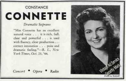Constance Connette Photo Concert Opera Radio (1945)