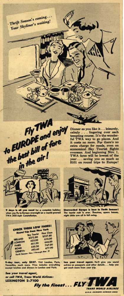 Trans World Airline's Europe – Fly TWA to Europe and enjoy the best bill of fare in the air (1953)