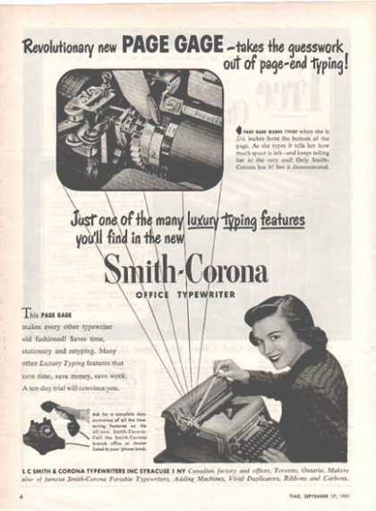 Smith Corona Typewriter – Page Gage (1948)