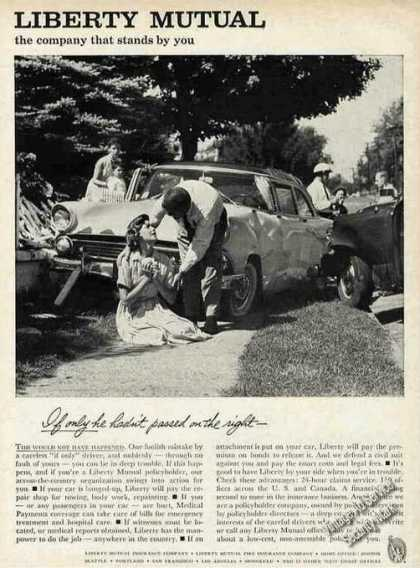 Liberty Mutual Print Ad Traffic Accident Photo (1961)