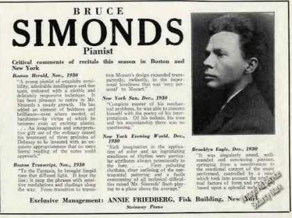 Bruce Simonds Photo Pianist Booking (1931)