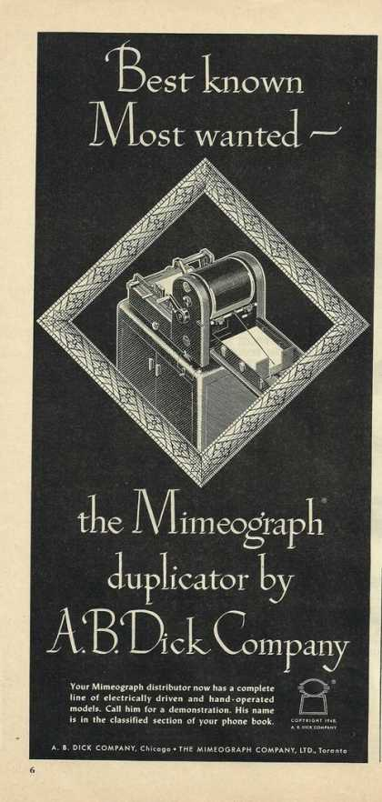 A B Dick Mimeograph Dulicator Machine (1948)