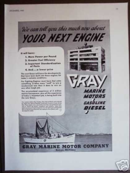 Gray Marine Motor Co. Detroit Boat Engine Photo (1942)