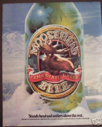 Original Moosehead Beer Antlers Ad Bar Art Decor (1984)