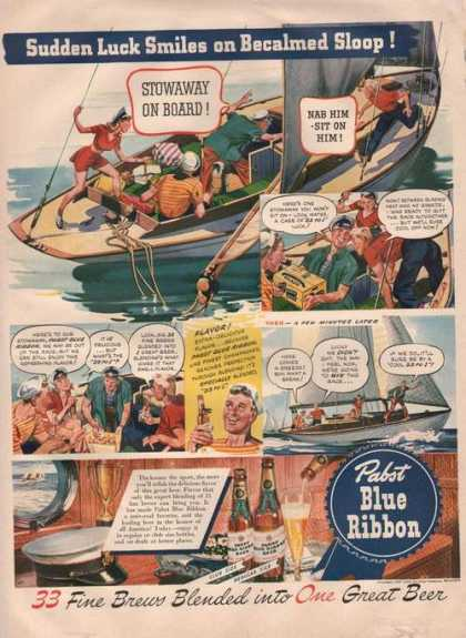 Pabst Blue Ribbon Bear Luck Smiles Print A (1942)
