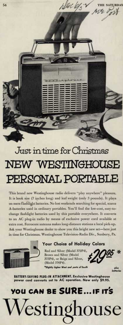 Westinghouse Electric Corporation's Portable Radio – Just in time for Christmas New Westinghouse Personal Portable (1952)