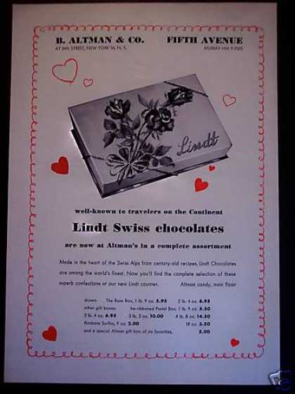 Lindt Swiss Chocolates B. Altman 5th Av (1951)