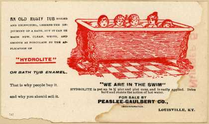 "Peaslee-Gaulbert Co.'s Hydrolite Bath Tub Enamel – ""We are in the Swim"""