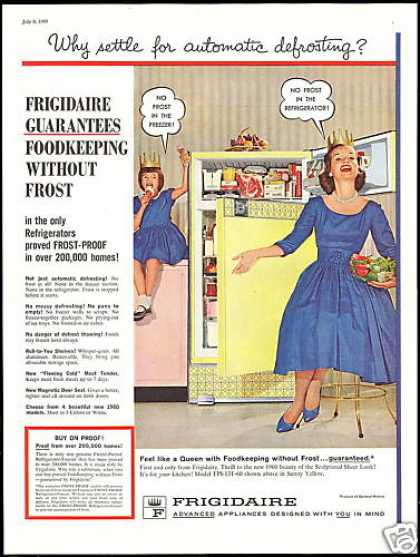 Yellow Frigidaire Refrigerator Queen Princess (1960)