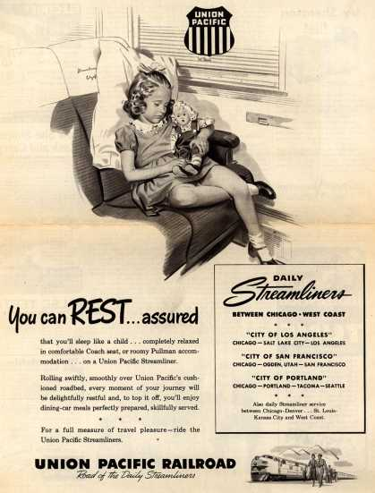 Union Pacific Railroad's Daily Streamliners – You can REST...assured (1948)