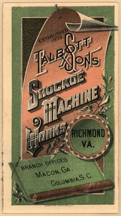 Talbott & Son's engines and boilers – Shockoe Machine Works