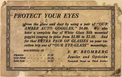 F. W. Bromberg, Jeweler and Optician's Amber Auto Goggles and Kodak cameras – Protect Your Eyes