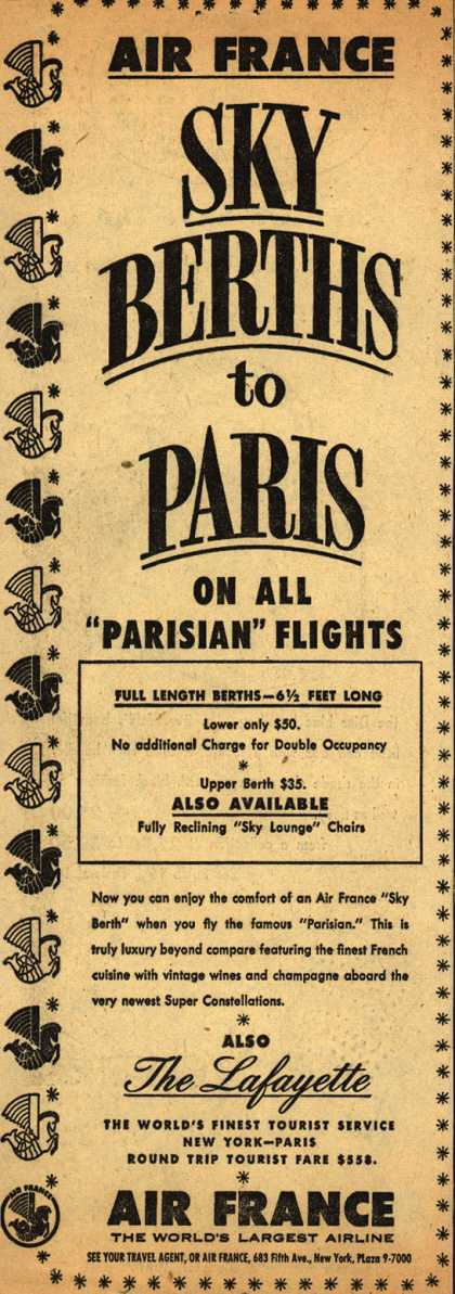 "Air France's Sky Berths to Paris – Air France Sky Berths to Paris on all ""Parisian"" Flights (1954)"