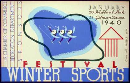 Winter sports festival, Jr. Chamber of Commerce, Recreation Department, sponsors. (1940)